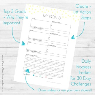 My Goal Tracking worksheet. Click to download your free copy!